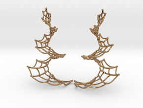 Spiral Spider Web Earrings in Polished Brass