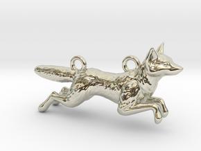 Jumping Fox in 14k White Gold