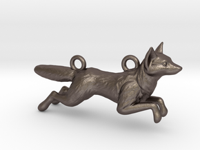 Jumping Fox in Polished Bronzed Silver Steel