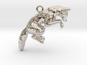 Pouncing Fox in Rhodium Plated Brass