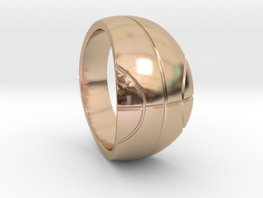 Size 7 Basketball Ring  in 14k Rose Gold Plated Brass