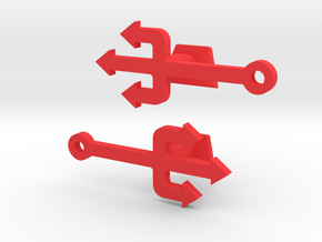 Pitchfork Cufflinks  in Red Processed Versatile Plastic