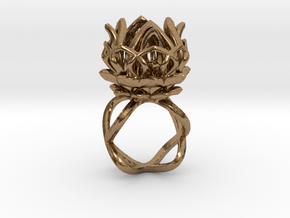 The Lotus Flower Ring / size 7 1/2 US in Natural Brass