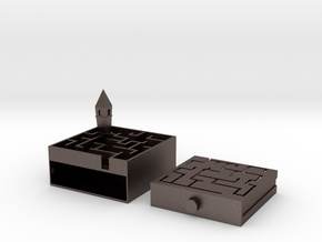 Castle Maze Puzzle Box in Polished Bronzed Silver Steel