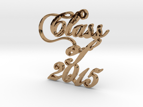 Class of 2015 Script Necklace Pendant in Polished Brass