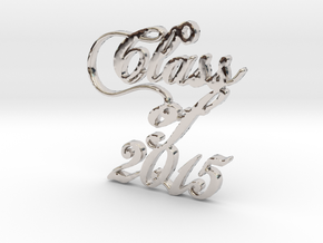 Class of 2015 Script Necklace Pendant in Rhodium Plated Brass