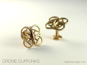 Drone Cufflinks in Polished Bronzed Silver Steel