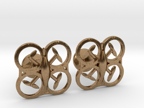 Drone Cufflinks in Natural Brass