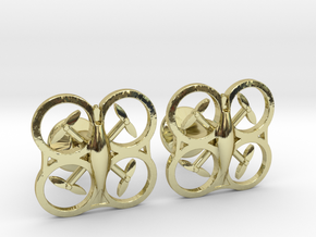 Drone Cufflinks in 18k Gold Plated Brass