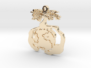 Earth Tree Conservation Necklace Pendant in 14K Yellow Gold