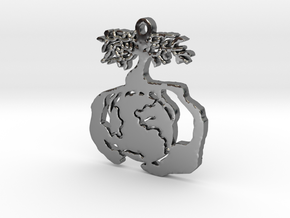 Earth Tree Conservation Necklace Pendant in Fine Detail Polished Silver