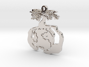 Earth Tree Conservation Necklace Pendant in Rhodium Plated Brass