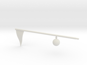 Flag And Ball - WHITE in White Natural Versatile Plastic