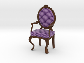 1:12 One Inch Scale LavDark Oak Louis XVI Chair in Full Color Sandstone