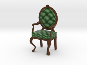 1:12 One Inch Scale PineDark Oak Louis XVI Chair in Full Color Sandstone