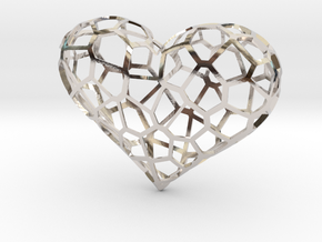 Voronoi heart in Rhodium Plated Brass