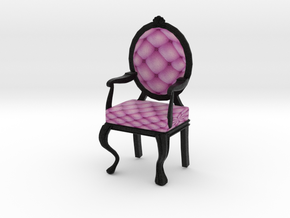 1:24 Half Inch Scale PinkBlack Louis XVI Chair in Full Color Sandstone