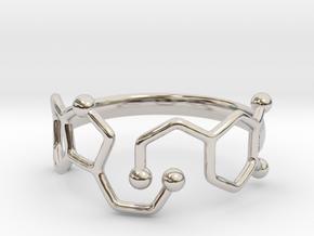Dopamine Serotonin Molecule Ring  Size 9 in Rhodium Plated Brass