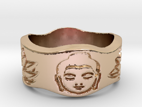 Buddha and Lotus Ring Size 4.5 in 14k Rose Gold Plated Brass