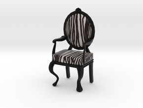 1:12 Scale Zebra/Black Louis XVI Chair in Full Color Sandstone