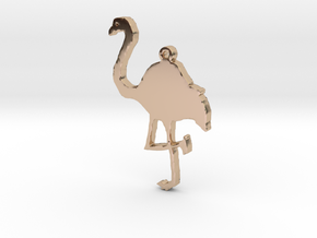 Flamingo Necklace Pendant in 14k Rose Gold Plated Brass