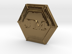 JM's Personal Logo and Board Game Lager in Polished Bronze