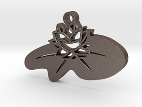 Zen Lotus Pendant in Polished Bronzed Silver Steel