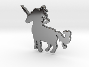 Unicorn Necklace Pendant in Fine Detail Polished Silver