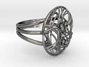 Complicated Ring in Fine Detail Polished Silver