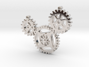 Steampunk gears in Rhodium Plated Brass