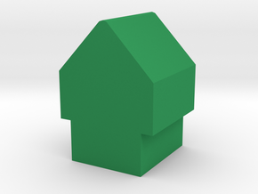 Game Piece, Medieval House Token in Green Processed Versatile Plastic