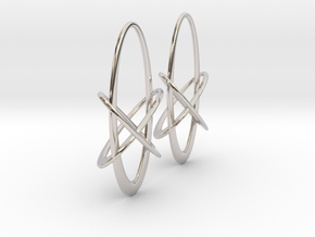 Three-Torus V4 Earrings in Rhodium Plated Brass