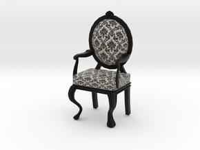 1:12 Scale Black Damask/Black Louis XVI Chair in Full Color Sandstone