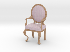 1:12 Scale Pink Striped/Pale Oak Louis XVI Chair in Full Color Sandstone