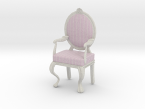 1:12 Scale Pink Striped/White Louis XVI Chair in Full Color Sandstone