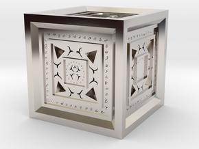 Strange Cube in Rhodium Plated Brass