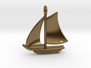 Large Sailboat Pendant in Polished Bronze