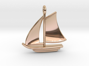 Large Sailboat Pendant in 14k Rose Gold Plated Brass