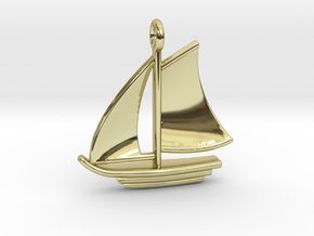 Sailboat Pendant in 18k Gold Plated Brass