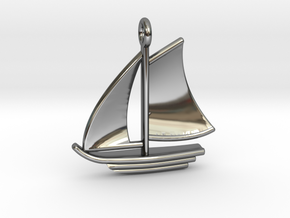 Sailboat Pendant in Fine Detail Polished Silver