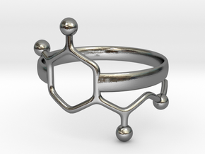 Adrenaline Molecule Ring - Size 8  in Polished Silver