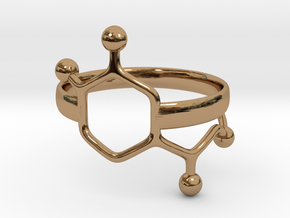 Adrenaline molecule ring - size 6 in Polished Brass