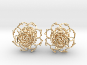Plugs / gauge / size 3/8  (10mm) in 14k Gold Plated Brass