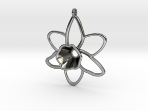 Daffodil Pendant for Necklace in Fine Detail Polished Silver