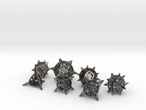 'Center Arc' balanced dice set + 10D10 Decader in Polished Nickel Steel