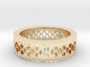 Ring With Hexagonal Holes in 14K Yellow Gold
