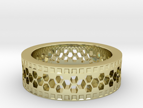 Ring With Hexagonal Holes in 18k Gold Plated Brass