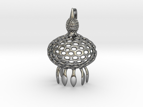 Anthocyrtium Radiolarian Pendant in Polished Silver