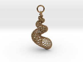Seashell Voronoi Cell Pattern  pendant / earring in Natural Brass