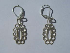 Moebius Earrings 2 in Polished Silver